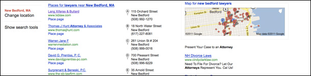 Google Local Search Places Page